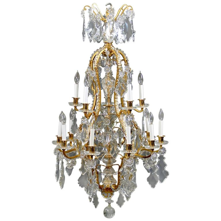 Late 19th Century Gilt Bronze and Baccarat Crystal Fifteen-Light Chandelier