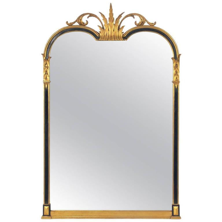 Elegant Black and Gold Italian Mirror, circa 1940s