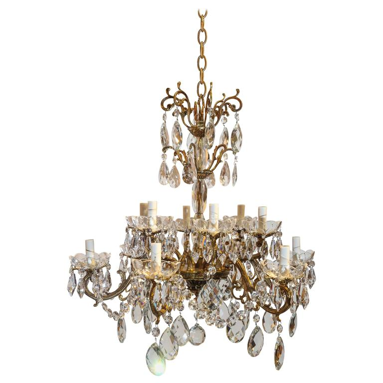 Small Ten Light Crystal Chandelier At 1stdibs