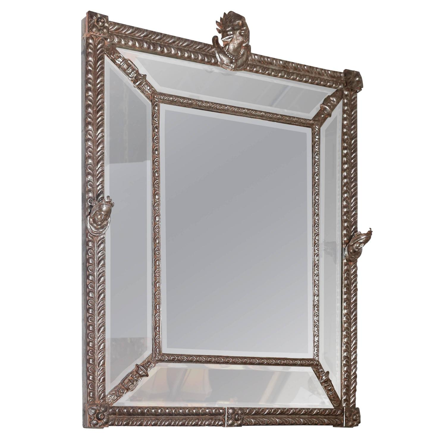 Large beveled mirror with decorative metal frame for sale Large wooden mirrors for sale