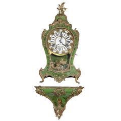 Large Pierre Le Roy Cartel Clock in Hand-Painted Case & Bracket