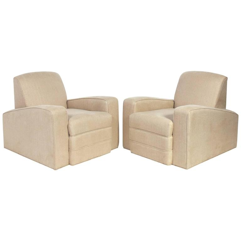 Pair of Low Slung French Art Deco Lounge Chairs For Sale