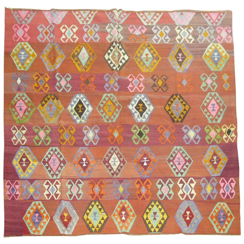 Vintage Turkish Kilim With Colorful Geometric Motifs At