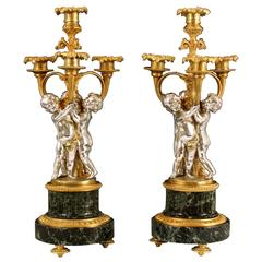 Rare Pair Louis XV Style Silvered Bronze Gilt Bronze and Marble Candelabra