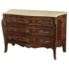 19th Century French Marble-Top Marquetry Commode, Circa 1880's