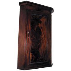 19th Century English Flame Mahogany Hanging Corner Cupboard