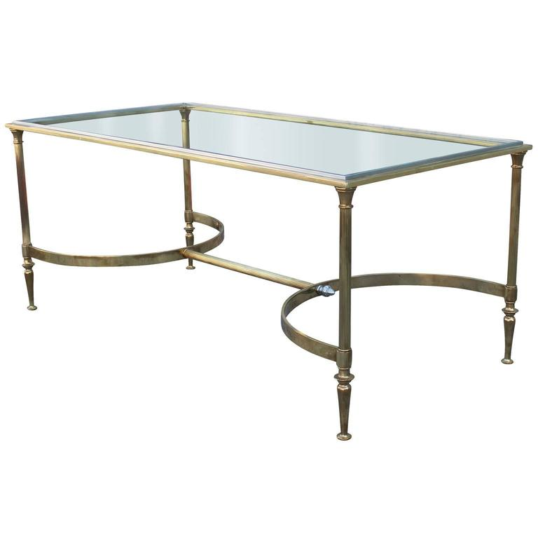 Elegant Glass And Metal Coffee Table: Elegant Brass And Glass Cocktail Table With Chrome Accents