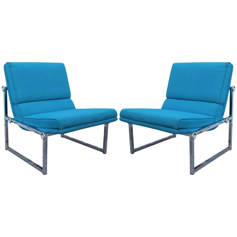 Pair Of Modern Chrome Base Knoll Slipper Lounge Chairs With Vintage Blue  Fabric For Sale