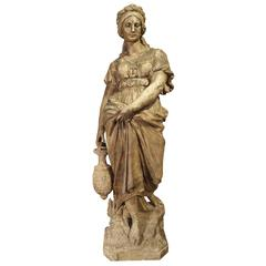 Lifesize Antique Terra Cotta Statue of a Woman