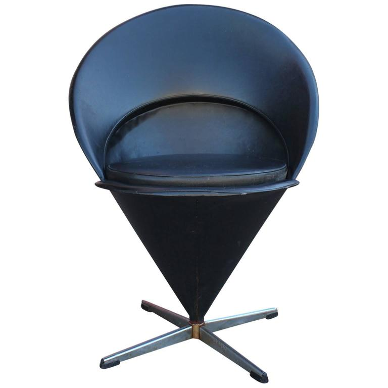 Modern Verner Panton K1 Swivel Cone Chair Black Leather