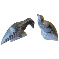 Pr. of Soapstone Sculptures Inuit Birds Signed Syllabics E Number for Carver ID.