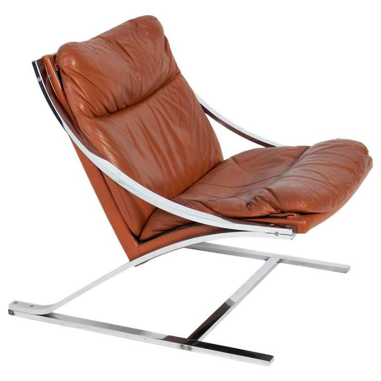 """Paul Tuttle """"Zeta"""" Lounge Chair in Chrome and Cognac Leather"""
