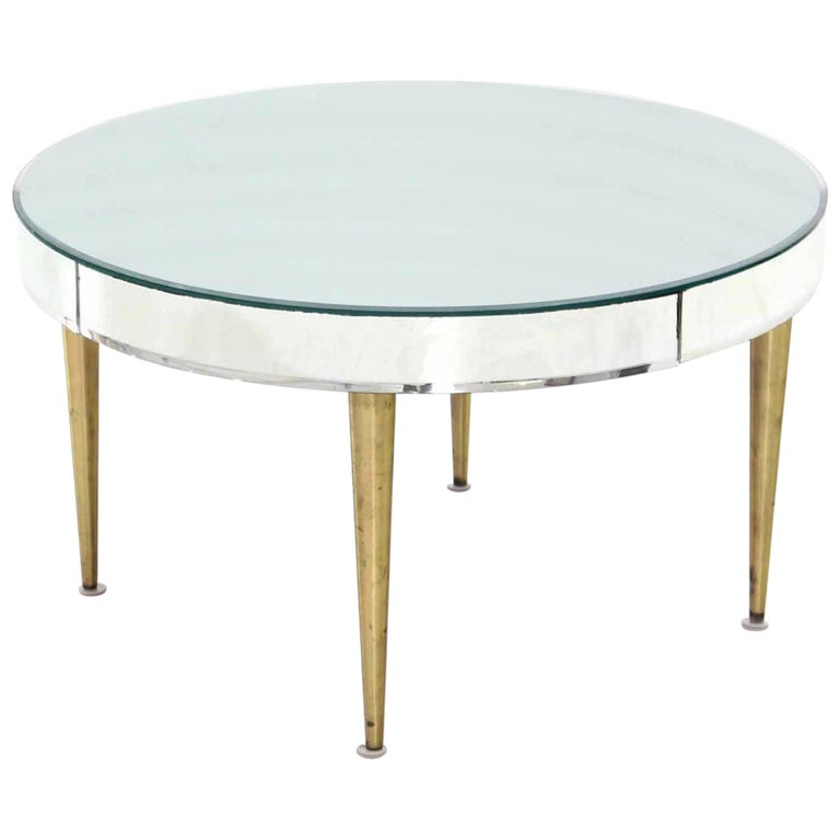 Drum Shaped Coffee Table.Mirrored Top Drum Shape Coffee Table Bent Glass