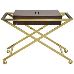 Brass X-Base Serving Cart
