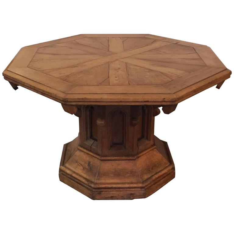 English Country House Center Table with Octagonal Top