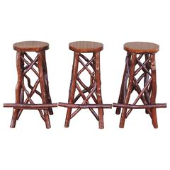 Set of Three Amazing Chip Carved Hickory Barstools