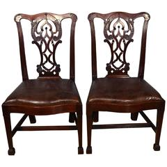 Pair of Georgian Side Chairs with Leather Upholstered Seats