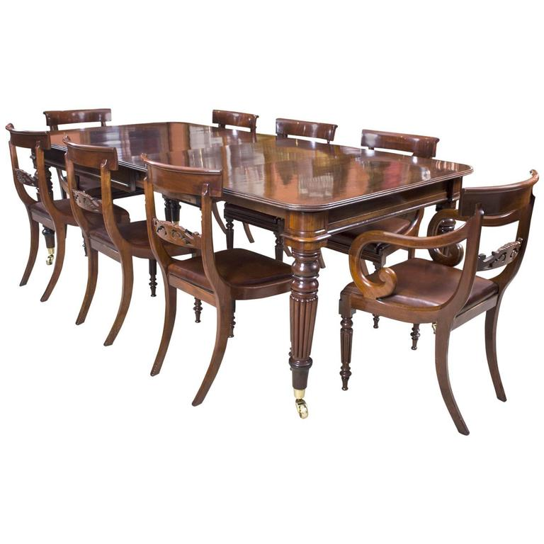 Antique regency mahogany dining table eight regency chairs at 1stdibs for Regency furniture living room sets