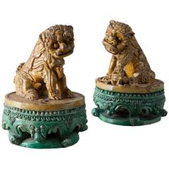 Pair of Chinese Stoneware Foo Dogs