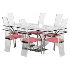 Set of six Lucite, glass and steel Maison Jansen chairs and dining table.