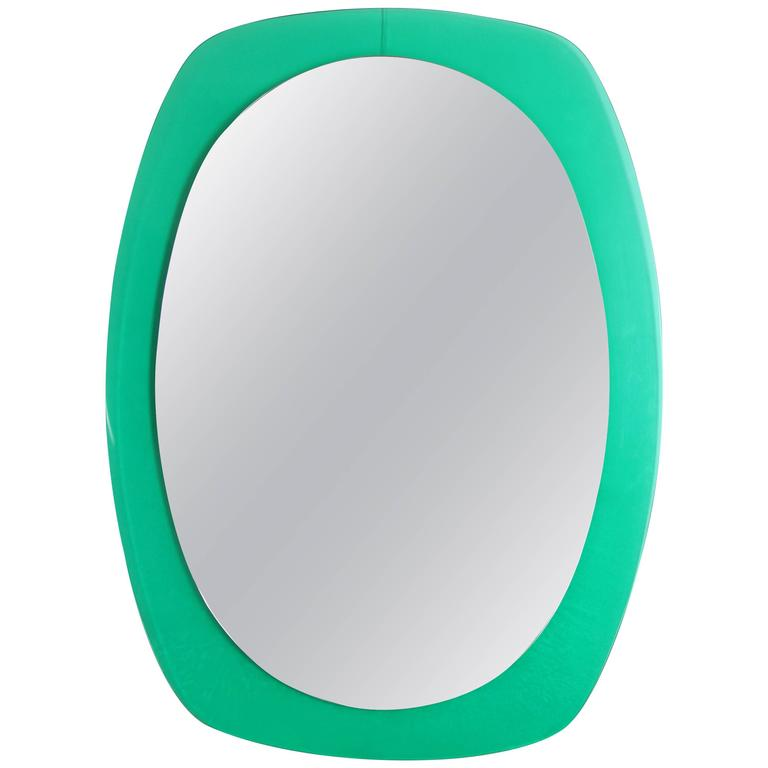 Italian 1960s Aqua Green Lucite Wall Mirror