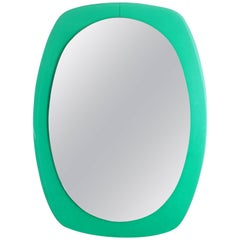 Italian Modernist Aqua Green Lucite Oval Wall Mirror