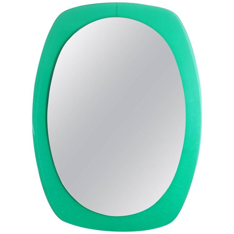 Mid-Century Modern Italian Aqua Green Lucite Oval Wall Mirror For Sale