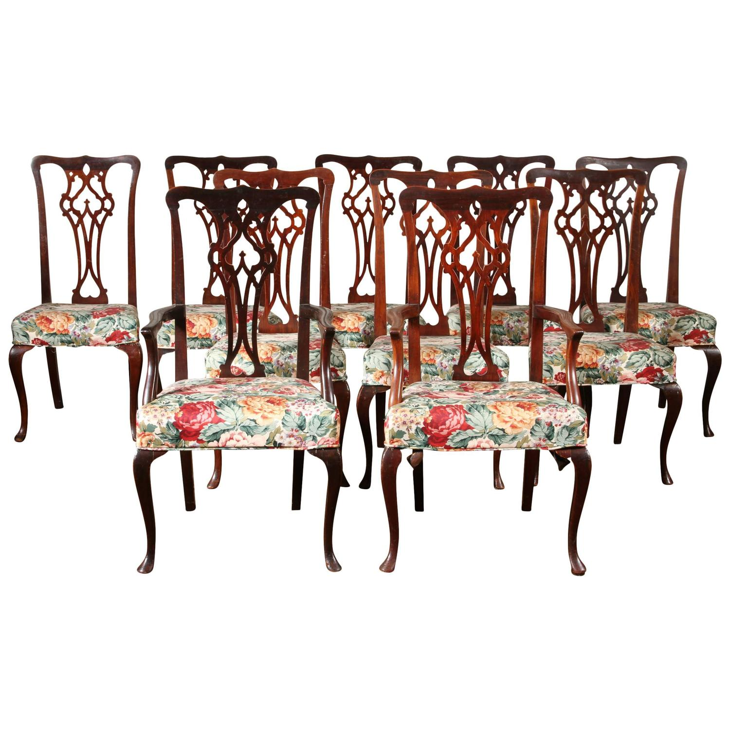fine set of ten chippendale style dining chairs at 1stdibs
