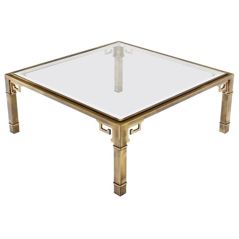 Large Square Mastercraft Greek Key Coffee Table For