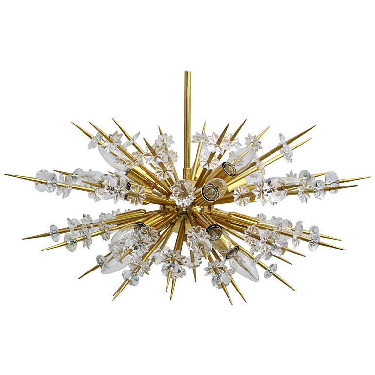 Mid Century Modern Vintage Glass Brass Chandelier Miracoloso Bakalowits 1972  For Sale