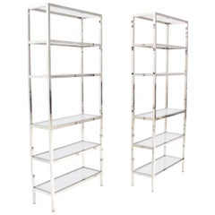 Pair of Tall Glass 6 Tier Shelves Chrome Etageres