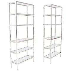 Pair of Tall Glass 6 Tier Shelves Chrome Etageres