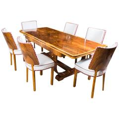 Antique Art Deco Burr Walnut Dining Table and Six Chairs, circa 1930