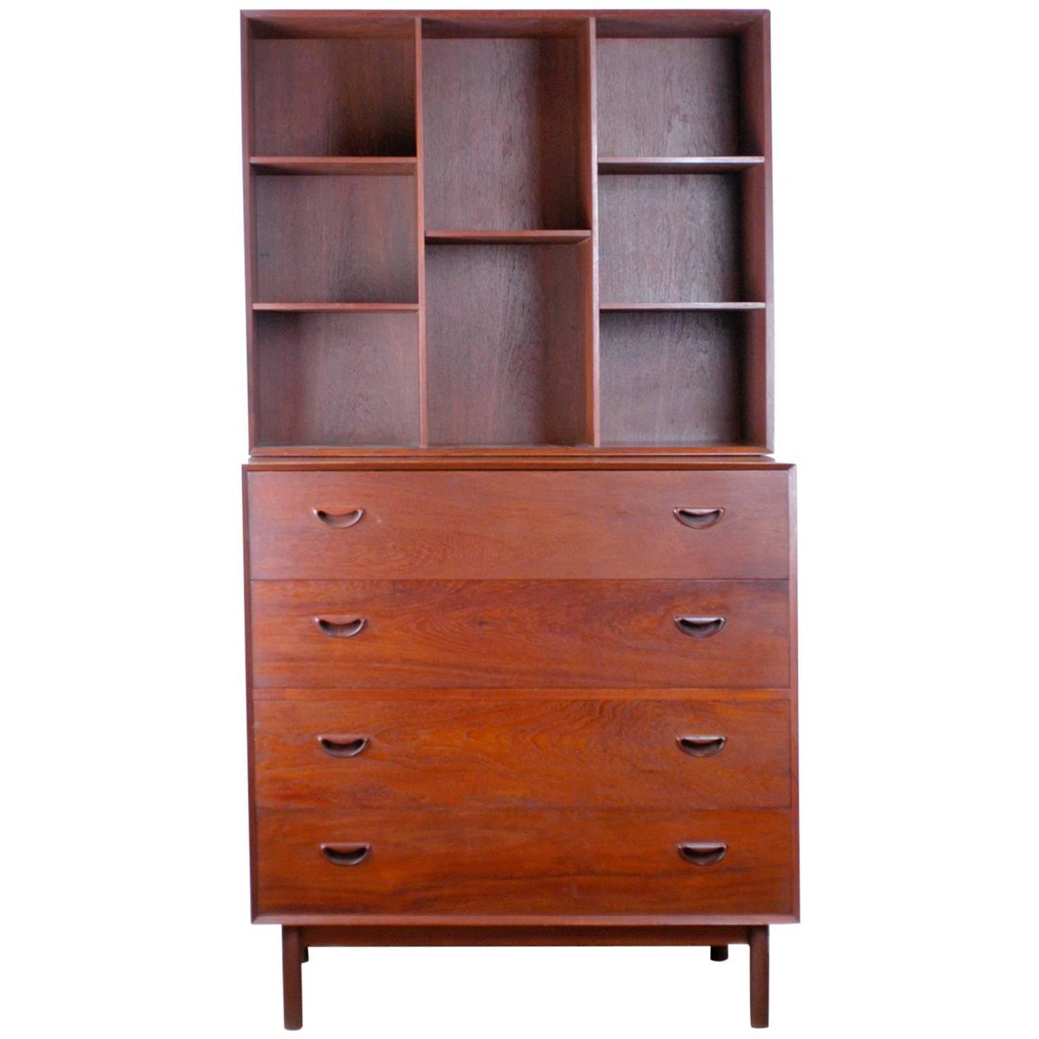 Solid Teak Four Drawer Dresser With Removable Bookcase By