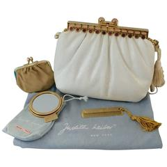 Judith Leiber Bejeweled White Lizard Handbag & Accessories Set