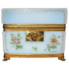 Wonderful White Opaline Hand-Painted Gilt Bronze Ormolu & Floral Jewelry Box