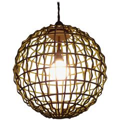 Large Industrial Mid-Century Modern Orb Pendant Chandelier