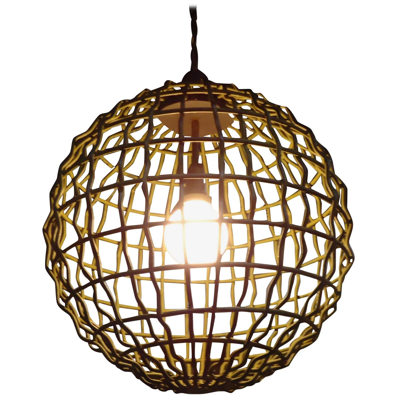 Large industrial mid century modern orb pendant chandelier for Large modern chandelier lighting