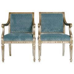 Pair of Silver Gilt Directoire Style Fauteuils