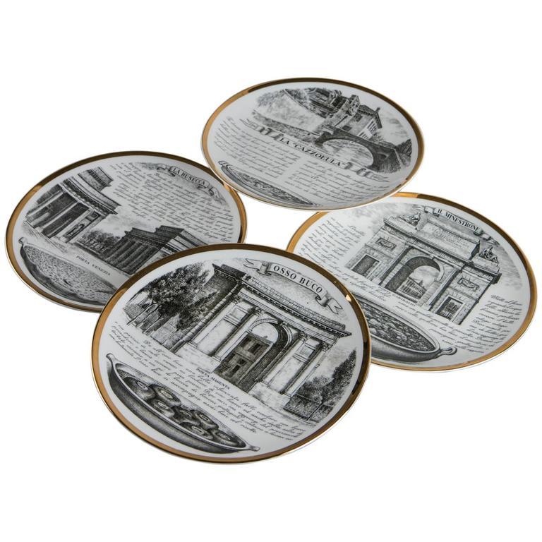 Set of Four Fornasetti Dinner Plates