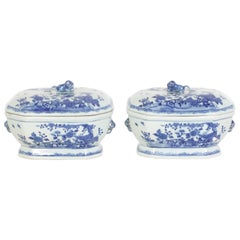 Chinese Export Style Blue and White Porcelain Lidded Tureens