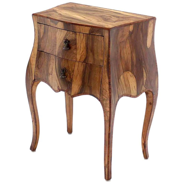 Patched Burl Wood Italian Bombay Side Table Nightstand At