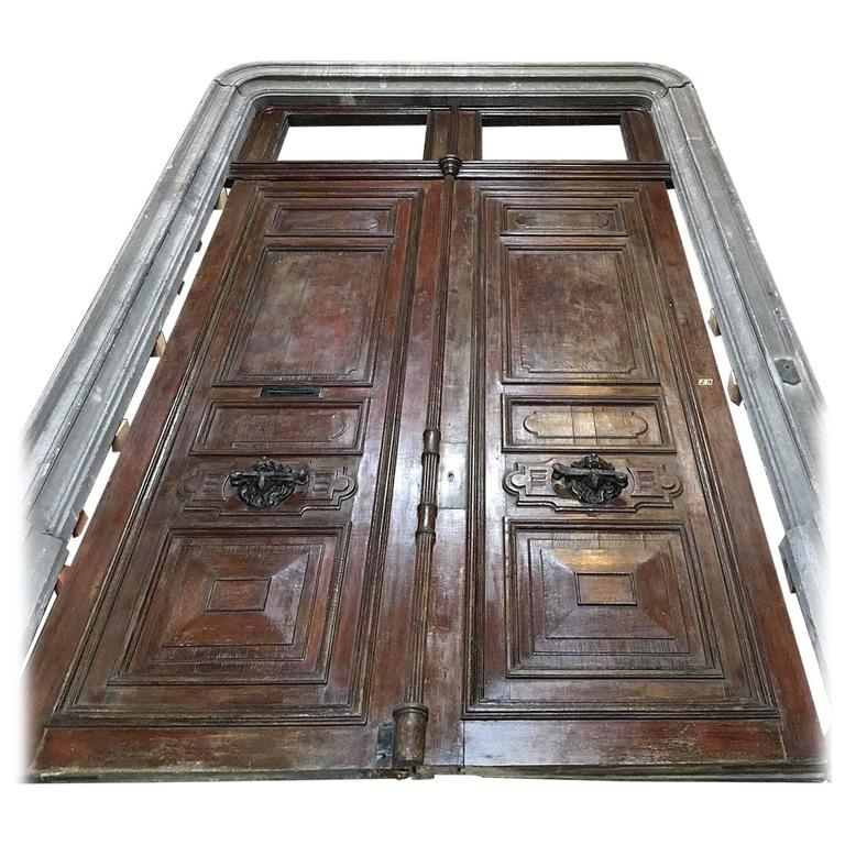 Massive Antique French Door With Door Frame For Sale
