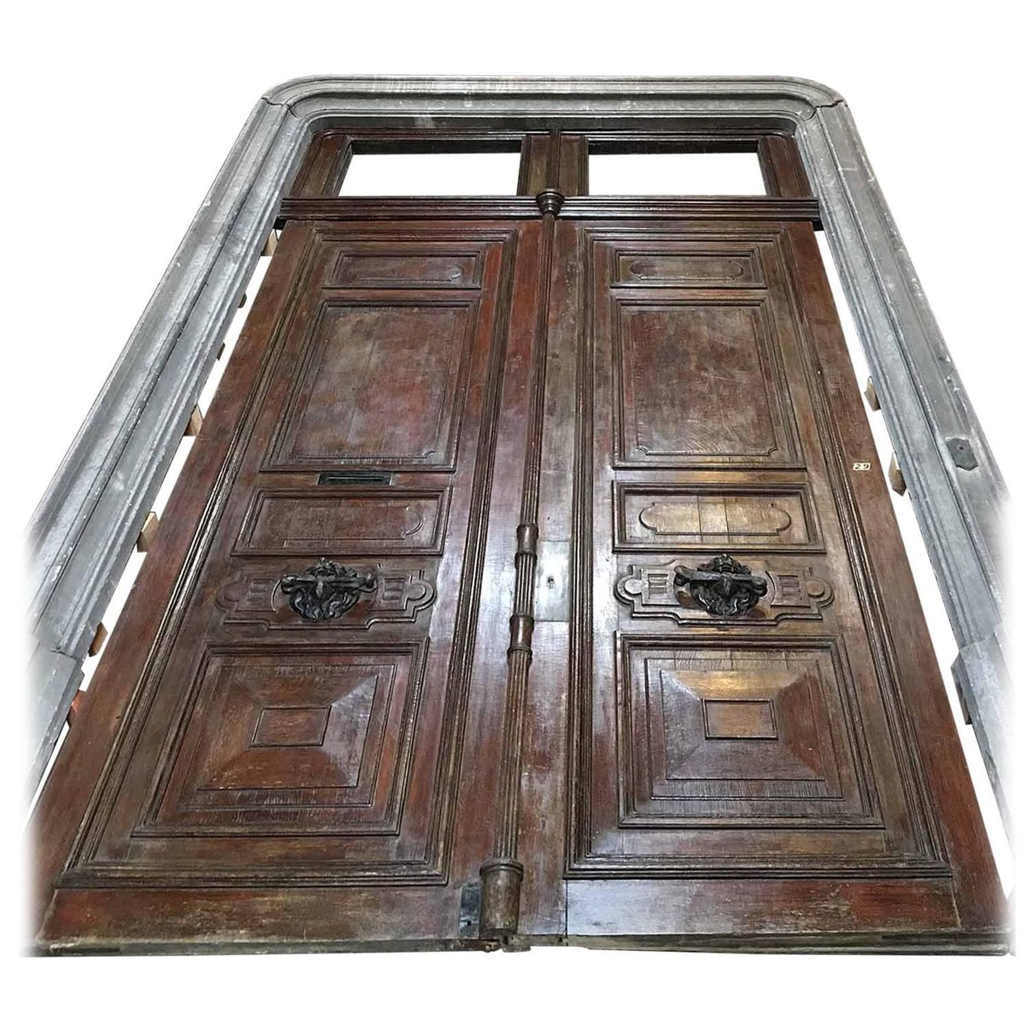Massive antique french door with door frame for sale at for French door frame