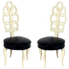 Pair of Elegant High Back Chairs in the Manner of Frances Elkins