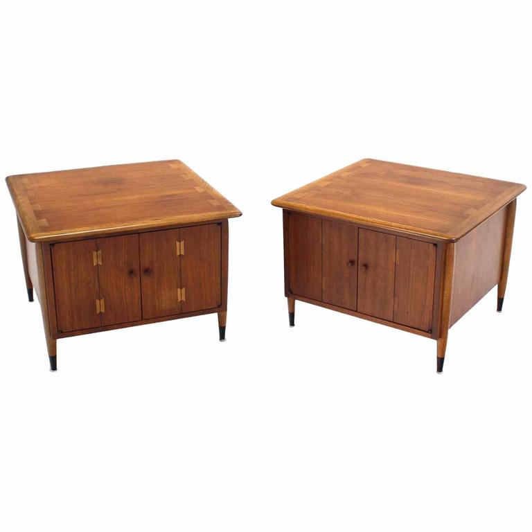 Pair of Walnut End Tables Dovetail Top Designs