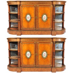 """Very good quality pair of C19th porcelain mounted side cabinets 84""""(214cm) wide"""