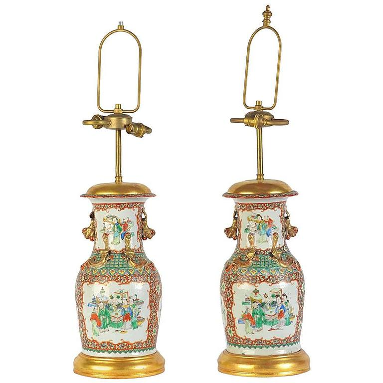 Pair 19th Century Chinese Canton Vases / Lamps