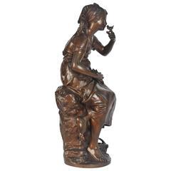 Mathurin Moreau Bronze Statue of Young Girl