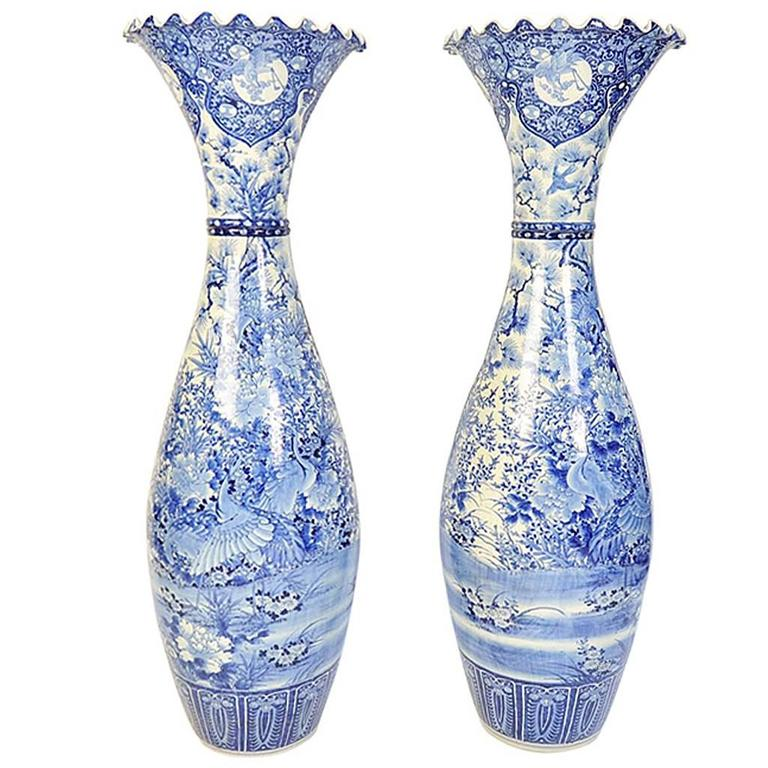 Monumental Pair Of C19th Japanese Blue And White Vases For Sale At